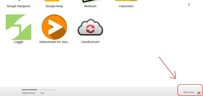 Aprire il Chrome Web Store dalla pagina delle app