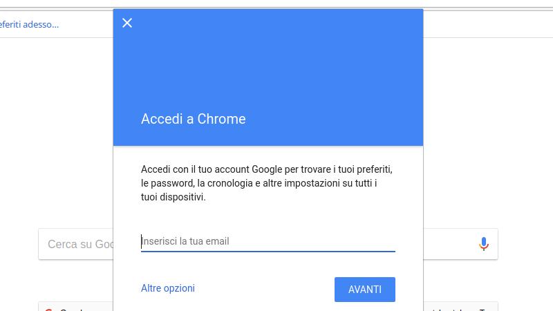 Accedere a Chrome creando un nuovo utente