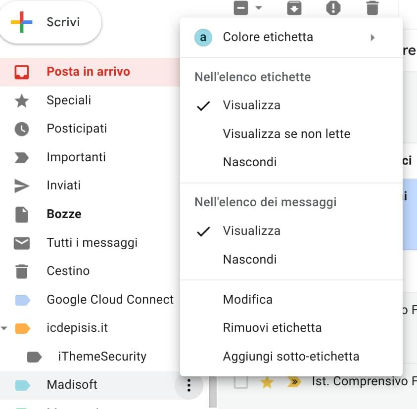 Gmail: menu rapito etichette