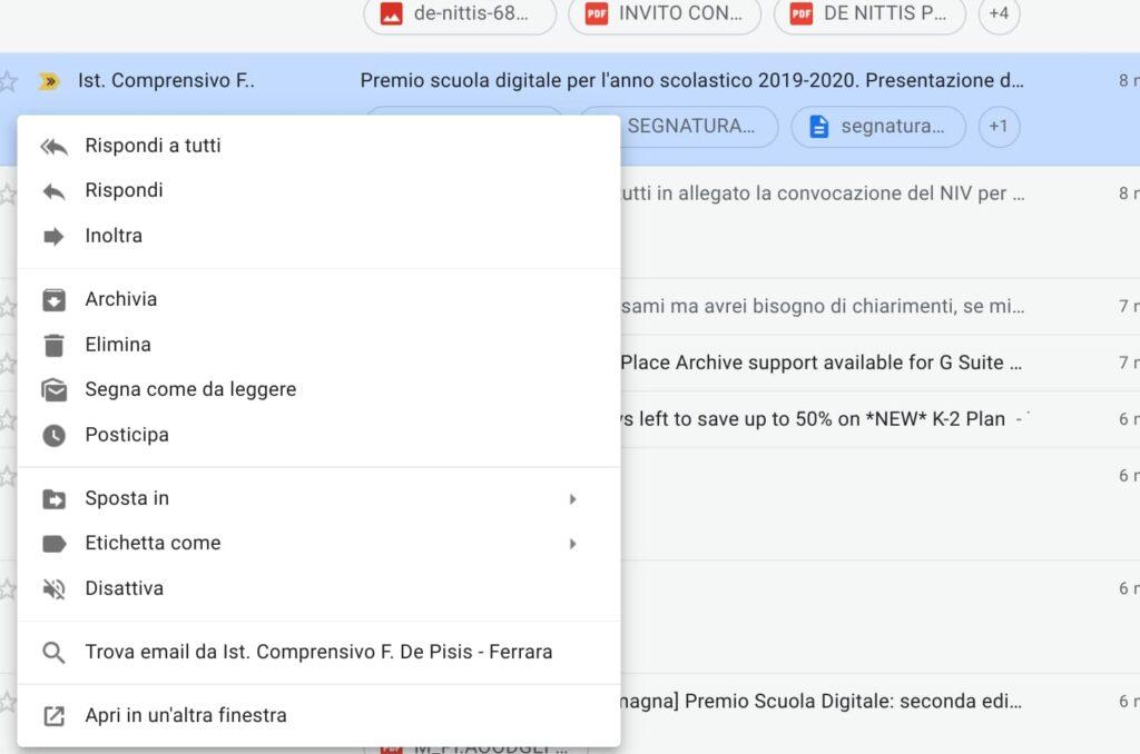 Gmail2: menu tasto destro