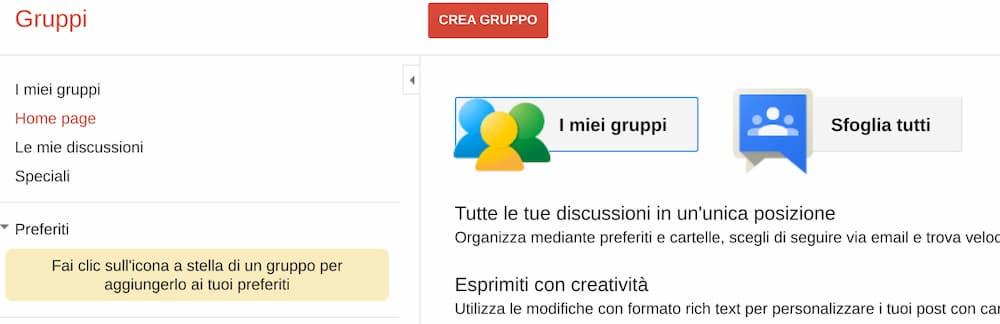 Homepage Gruppi