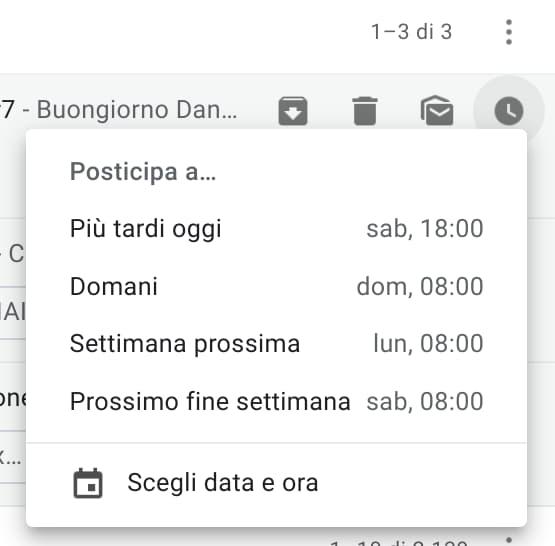 Menu posticipa email