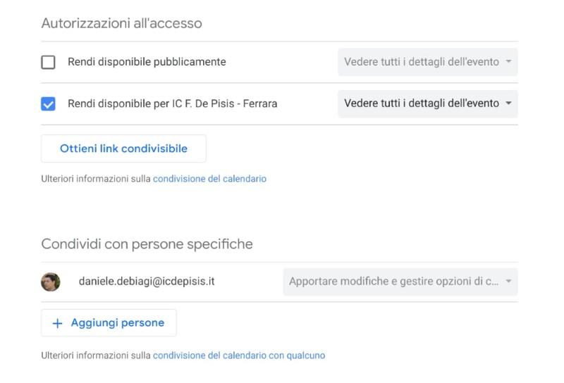 Google Calendar: condividere calendario