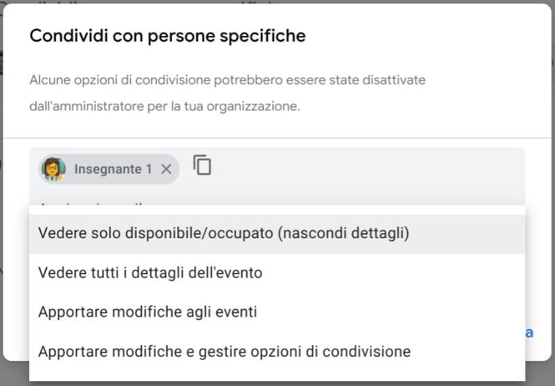Google Calendar: condividere con persone specifiche