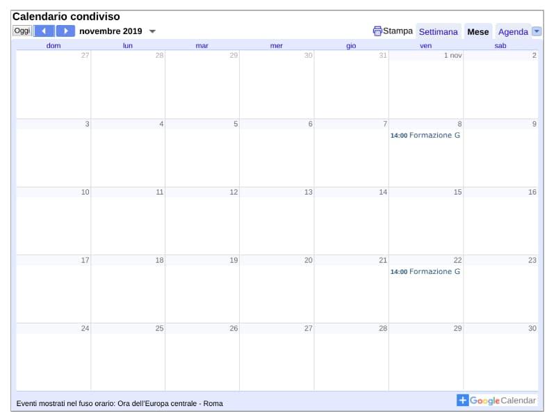 Google Calendar: pubblicare calendario