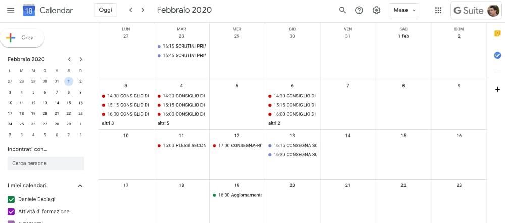 Google Calendar - schermata iniziale
