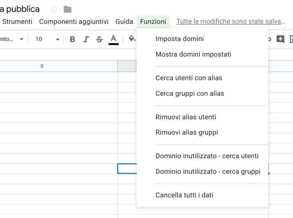 Eliminare alias G Suite - funzioni personalizzate