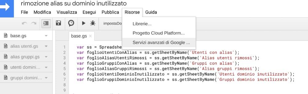 Google script - servizi avanzati